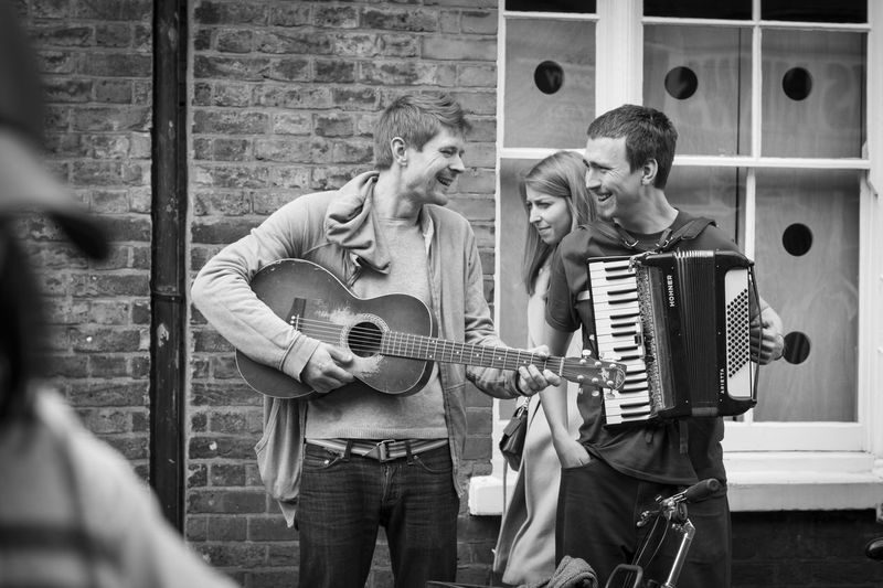 Accordion Arts Culture And Entertainment Friendship Guitar Leisure Activity London Music Musical Instrument Musician People Playing Plucking An Instrument Real People Street Musicians Street Photography The Street Photographer - 2017 EyeEm Awards