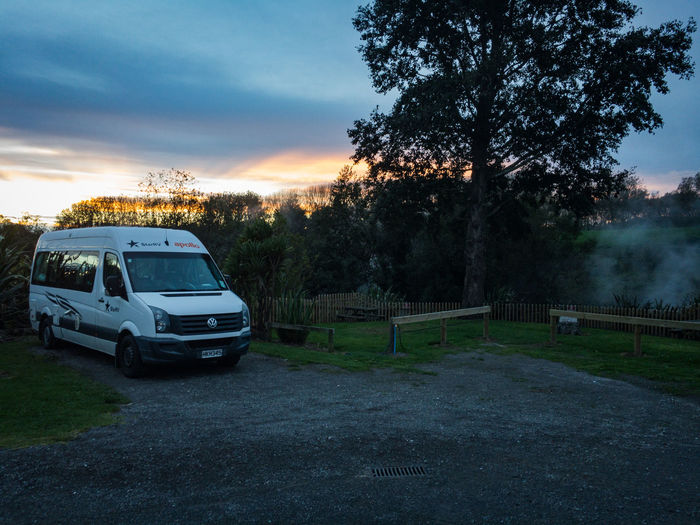 camper van at a geothermal active place in new zealand Travel Beauty In Nature Camper Van Car Cloud - Sky Day Field Grass Growth Land Land Vehicle Mode Of Transportation Motor Vehicle Nature New Zealand No People Outdoors Plant Road Sky Sunset Transportation Tree The Traveler - 2018 EyeEm Awards Summer Road Tripping