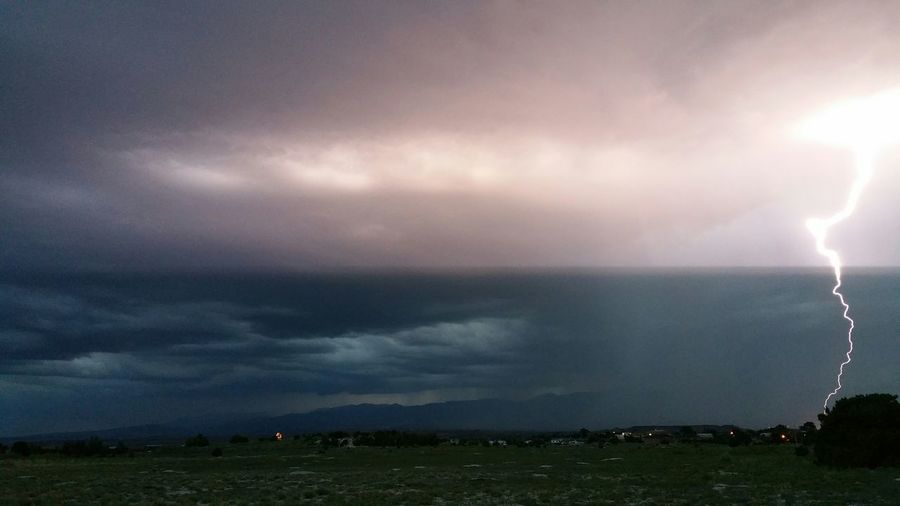 Lightning Strikes Another Colorado Evening Storm Mountains Dark Clouds Heavy Lightning Light The Sky ...