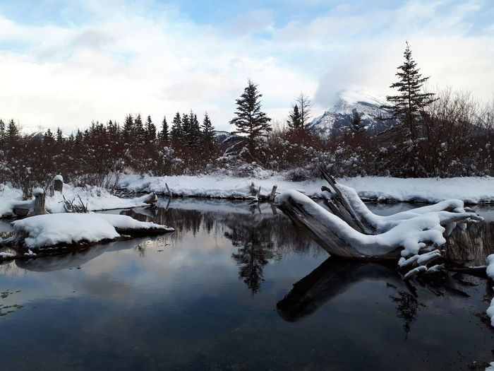 Snow covered landscape by lake against sky