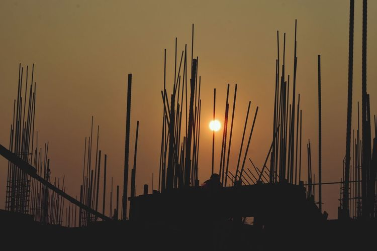 Sunset Silhouette Sun Outdoors Sky Nature Landscape No People Scenics Panoramic Shipyard Day The Graphic City