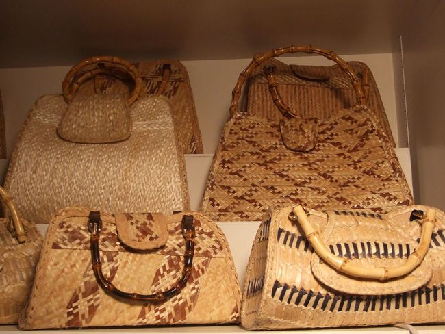 Brown Close-up Fashion Handbag  Purses Straw Strawwoven Tropical Variation