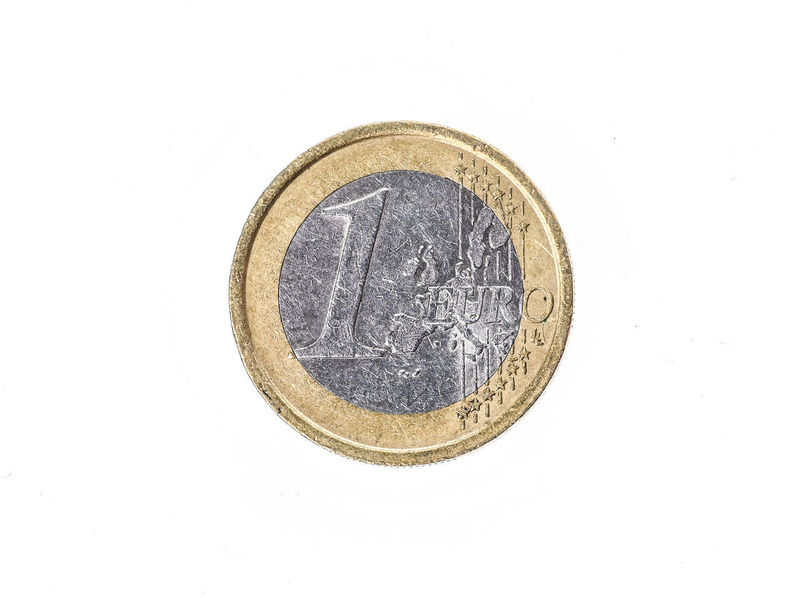 Old used and worn out 1 euro coin. Coin of European currency for 1 euro isolated on white. High resolution picture. Currency Economy Cash Cent Cent Coins Coin Coins Euro Euro Coin Euro Coins Europe European Currency European Money Finance Gold Colored Metallic Monetary Money Old Savings Studio Shot Symbol Used White Background €