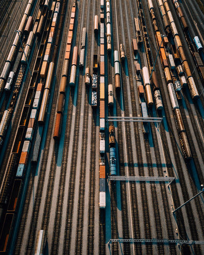 High angle view of trains at shunting yard