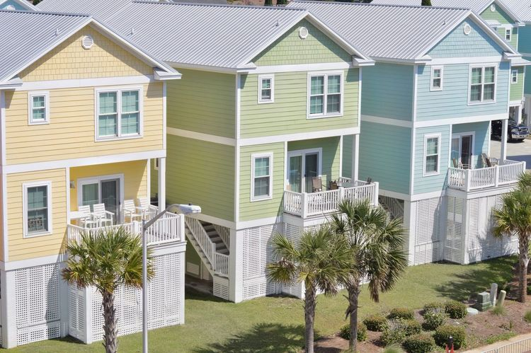 Pastel rentals House Building Exterior Residential Building Architecture Built Structure Home Ownership Residential District Housing Development Community Pastel Colors