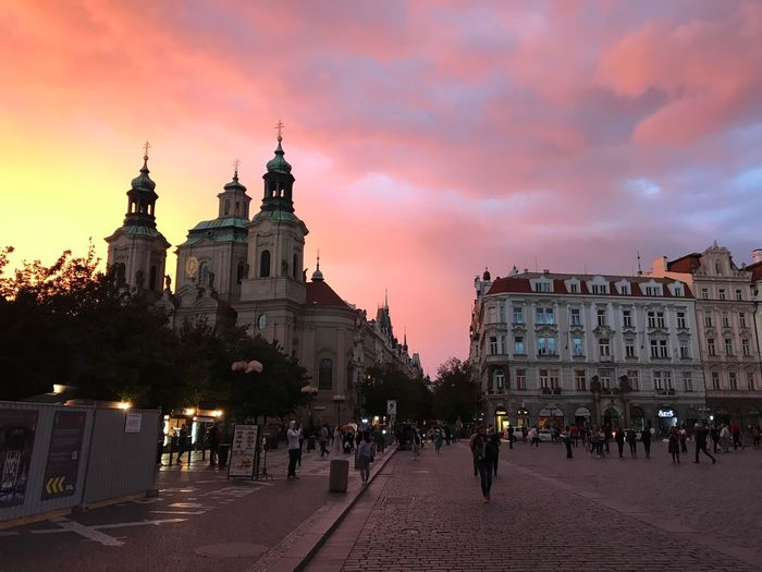 Architecture Built Structure Sky Sunset Travel Destinations Cloud - Sky Outdoors Day People City Prague Old Town Town Building Exterior Large Group Of People Town Square