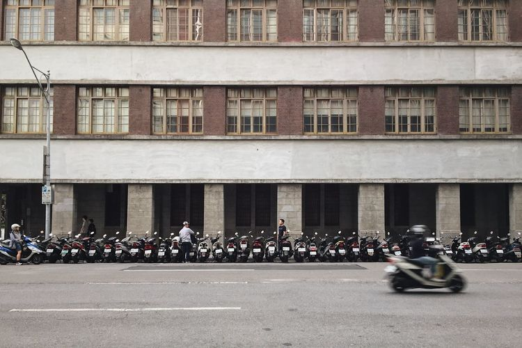 Large Group Of People Building Exterior Architecture Real People Built Structure Men Day Outdoors City Crowd Adult People Motorcycle Scooter Taiwan Parking Repetition Window Streetphotography Street Photography Mobility In Mega Cities