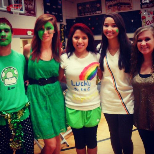 Brookelynn, Half of Josh, Jaqueline, and BreAnna ! Homecoming Sophomores  GreenGreenGreen Rainbows Colorful ThemeDay