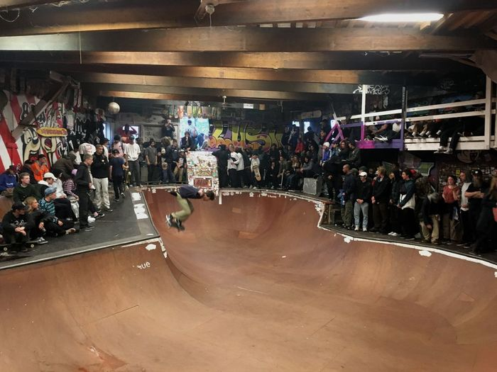 Large Group Of People Crowd Skateboarding Skate Cph Skatepool Wonderland Christania