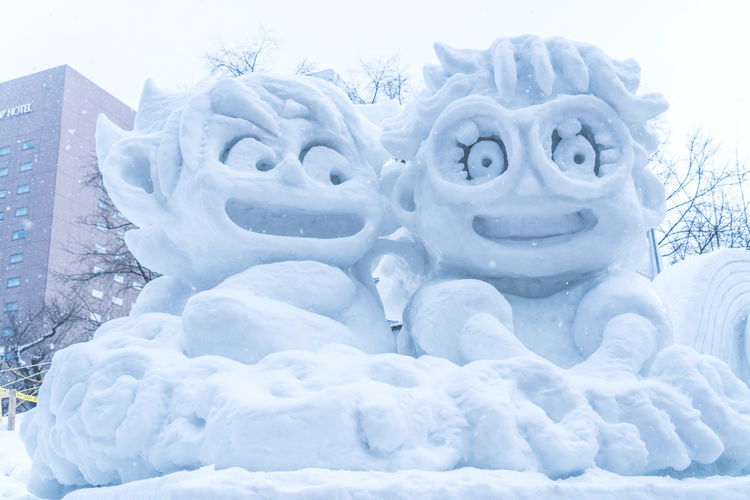 Goku Arale Anthropomorphic Face Art And Craft Beauty In Nature Close-up Cold Temperature Covering Creativity Day Dragonballz Extreme Weather Face Field Frozen Human Representation Nature No People Representation Sky Snow Snowing White Color Winter