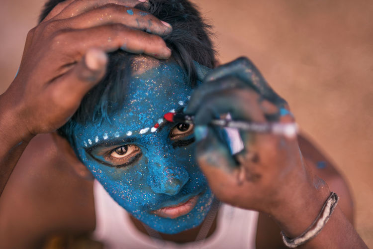 Angalamman Blue Close-up Culture Facepainting Festival Kali Kaveripattinam Looking At Camera Makeover People Person Ritual ShivaRatri Temple Blue Wave The Portraitist - 2016 EyeEm Awards Colours Of Life A Bird's Eye View TakeoverContrast Art Is Everywhere The Portraitist - 2017 EyeEm Awards