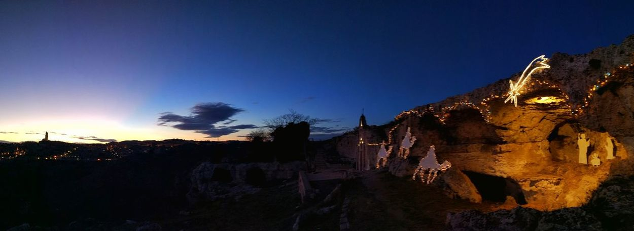 Notte di Natale Natale  Matera Italia Italy Christmas Lights Christmas Presepe Night Outdoors Sky No People Sunset Beauty In Nature Nature