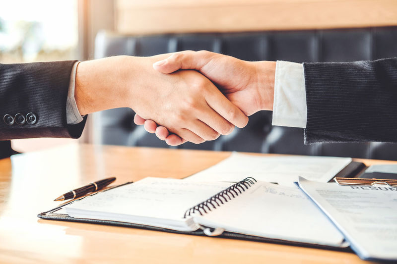 Handshake Interview Employer  Employment Contract Teamwork Administration Brainstorming Experience Corporate Business Planning Business Businessman Ceo Communication Confident  Leadership Finance Partnership - Teamwork Management Investment Greeting