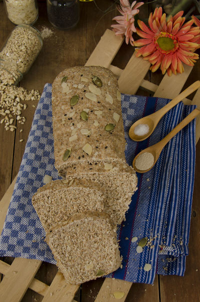 whole wheat bread on wood texture. Baked Bakery Bread Close-up Day Flower Food Food And Drink Freshness Healthy Eating High Angle View Indoors  No People Ready-to-eat Table Whole Wheat Bread