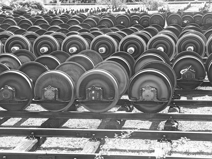 Arrangement Backgrounds Black & White Black And White Black And White Photography Close-up Day Full Frame In A Row Outdoors Railway Railway Station Railway Track Repair Parts Repetition Side By Side Train Wheel Train Wheels Beautiful Organized
