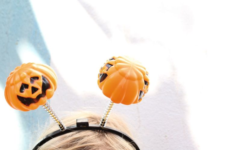 Halloween pumpkins Childhood Pumpkin Halloween Close-up White Background Dressing Up Fun Pumpkins HEAD Top Of Head Bopper Minimalism