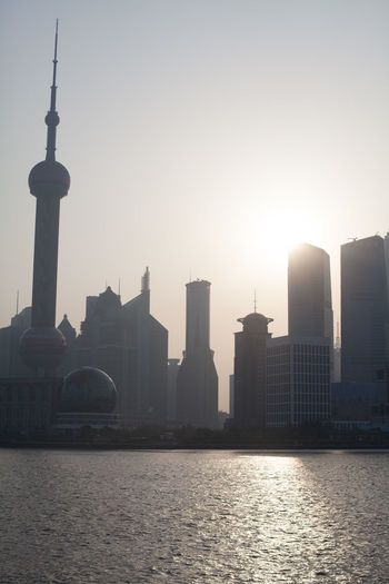 Oriental Pearl Tower And Skyscrapers On Sunny Day