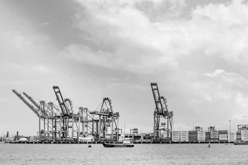 Blackandwhite Black And White Blackandwhite Photography Outdoors Black And White Collection  Cloud - Sky No People Sea Seaport Containers Seaport District Seaport Vessels In Port Boat Container Terminal Container Port