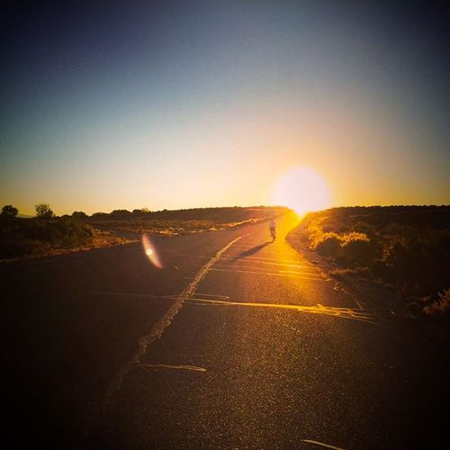 Summer Evening Sunset Sunshine Desert Road Bike Ride To The Sky