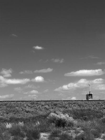 Lone Atmosphere Atmospheric Mood Black And White Cloud - Sky Desert Scrub Journey Monochrome No People Outdoors Prairie Sky