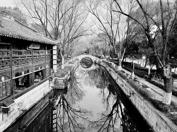 Bridge over canal amidst bare trees and buildings