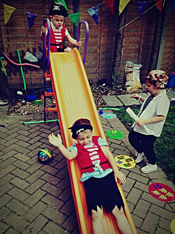 Pirates Playtime... Friendship Slide Children Makebelieve Innocence Cute
