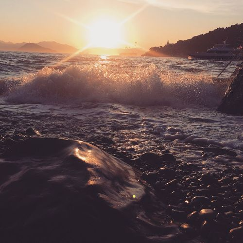 Sunset Nature Waves, Ocean, Nature Waves Crashing Waves And Rocks Waves Rolling In Rocks Rock - Object Beach Beauty In Nature Non-urban Scene Relaxing Enjoying Life