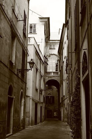 street sight 50ies Albenga Liguria,Italy Alley Architecture Black And White Photography Building Exterior Built Structure Day Italy❤️ No People Old Buildings Outdoors Scriptina The Way Forward Time Machine