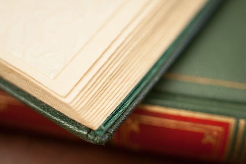 Antique book open leather green cover Antique Book Close-up Cover Detail Green Leather Macro No People Old Pages Photo Album Red Selective Focus White