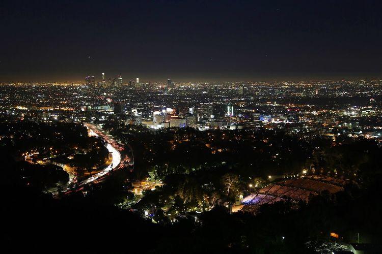 Skyline Night Nightphotography Lights Losangeles Los Santos MullhollandDrive Holiday Long Exposure Sky USA California Los Angeles, California Los Angeles