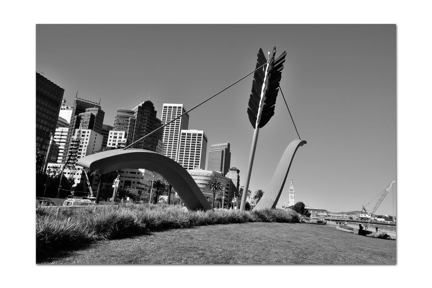 Cupi's Span 4 San Francisco CA🇺🇸 Rincon Park The Embarcadero Cupid's Span 60 Ft. Outdoor Sculpture 2002 Bnw_from_beneath Bnw_friday_eyeemchallenge Drawn Bow & Arrow Partial Bow & Piece Of An Arrow Love's Weapon Of Choice Implanted In The Ground Skyscrapers Ferry Building Construction Crane Cityscape Monochrome_Photography Monochrome Waterfront♥ Black & White Black & White Photography Black And White Black And White Collection  Sculptors: Oldenburg & Bruggen Public Art San Francisco Bay Home Port Of Eros