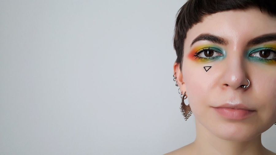 pride Pride Gaypride Rainbow Colors Colors Rainbow Woman Who Inspire You Portrait Young Women White Background Studio Shot Looking At Camera Beautiful Woman Headshot Gray Background Beauty Eyelash Eye Make-up
