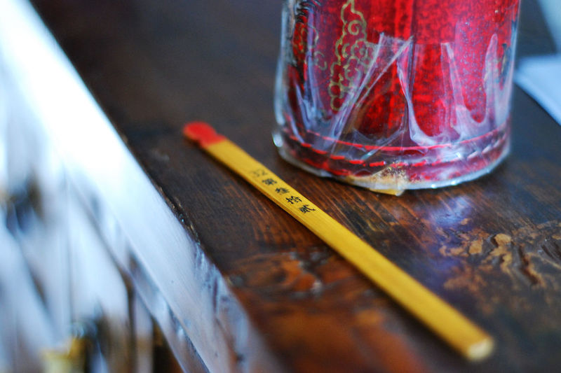 Close-up of pencil on table