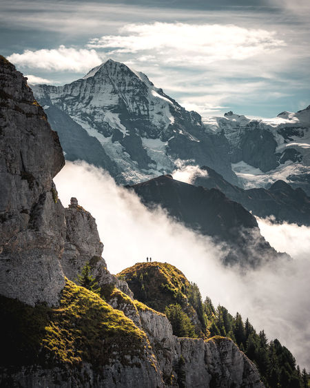 Scale  Alps Beauty In Nature Cloud - Sky Day Dramatic Environment Formation Idyllic Jungfrau Mountain Mountain Peak Mountain Range Nature Non-urban Scene Outdoors Rock Rock - Object Rock Formation Scenics - Nature Sky Solid Tranquil Scene Tranquility Travel