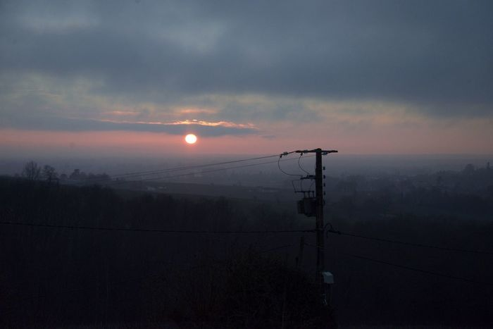 Fog Beauty In Nature Tranquility Scenics Sky Outdoors Nature Landscape Sunset Electricity Pylon