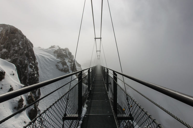 Dachstein Skybridge Adventure Austria Beauty In Nature Bridge - Man Made Structure Connection Day Fog Footbridge Mountain Nature Outdoors Railing Scenics Sky Styria Suspension Bridge The Way Forward