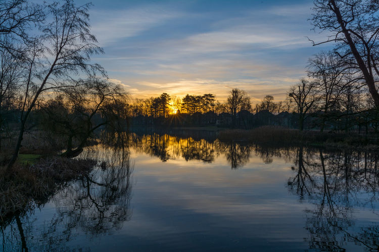 The best way to start a day is to witness such amazing sunrise Blue Hour Branches Orange Reflection Trees Blue Sky Lake Landscape No People Outdoors Scenics Shillouette Sunrise Water