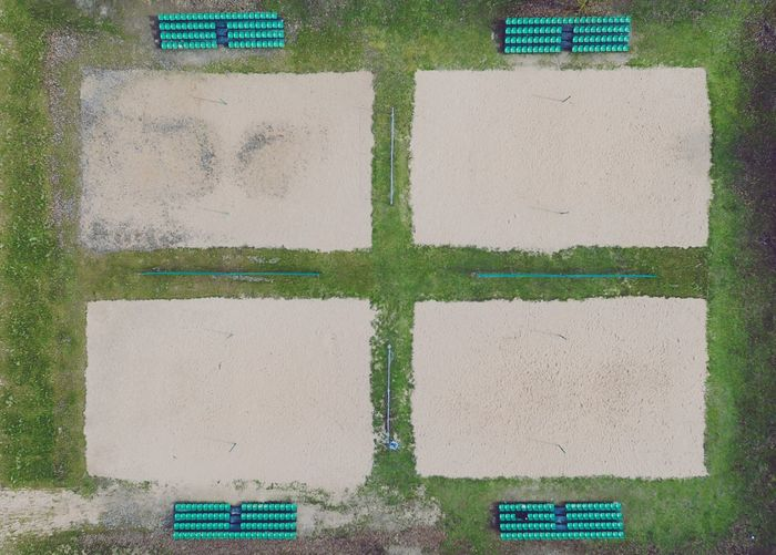 Aerial view of volleyball field