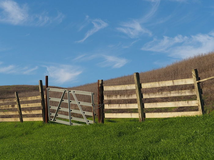 Bright And Bold Colors Bright_and_bold Fence Wooden Fence Wood Grain Blue Sky Sky Boundary Cloud - Sky Picket Fence Landscape Farmland Ontheroad Rural Scene Contrast Object Photography Taking Pictures Green Green Grass