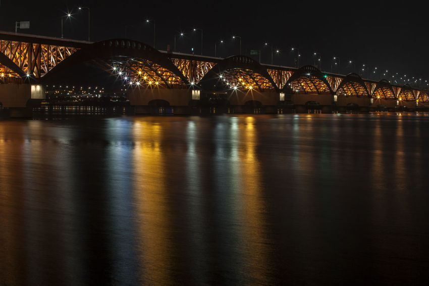 Architecture Bridge - Man Made Structure Built Structure City Connection Dark Engineering Han River Hangang Illuminated Light Nature Night No People Outdoors Reflection River Seongsandaegyo Sky Tourism Tranquility Tranquility Travel Destinations Water Waterfront