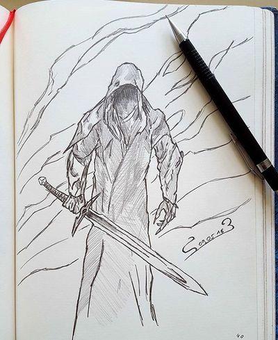 Color Fanart Pencildrawing Pencilart Pencils Criterium Devil Korn Black & White Death Sword