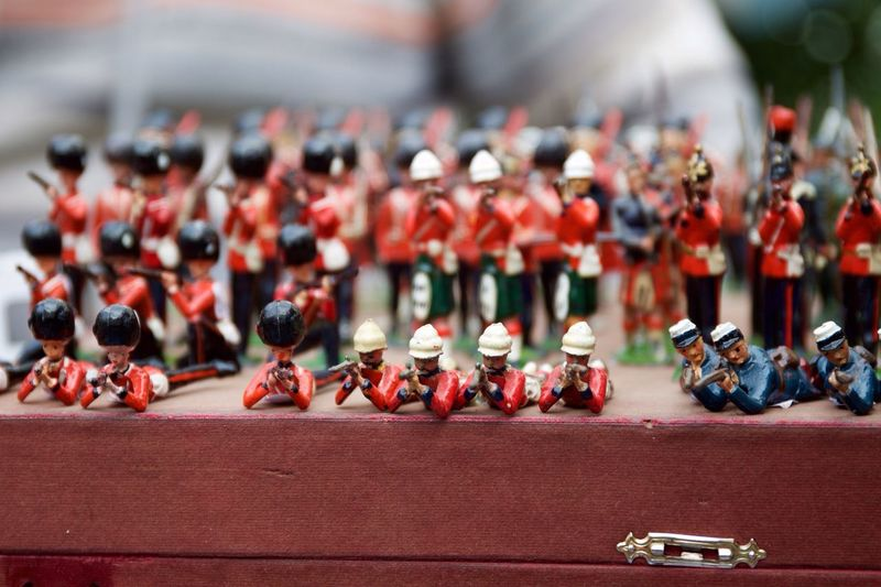 Close-up of army figurines on table