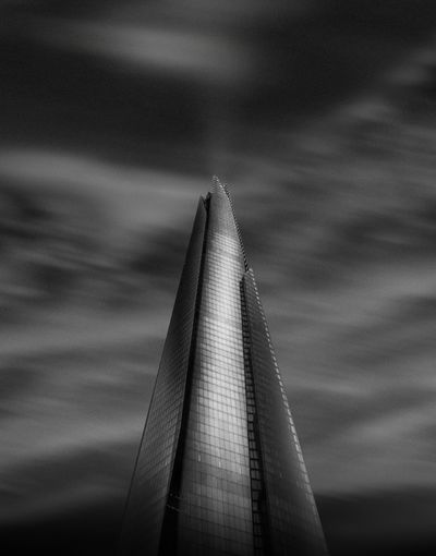 Low angle view of shard london bridge against sky