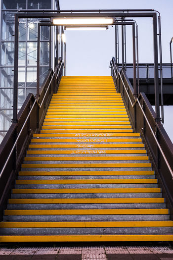 Low angle view of yellow staircase