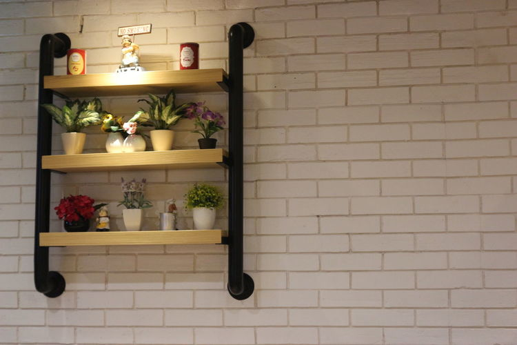 Brick Wall Day Flower Illuminated Indoors  Interior Interior Design No People Wall Shelf
