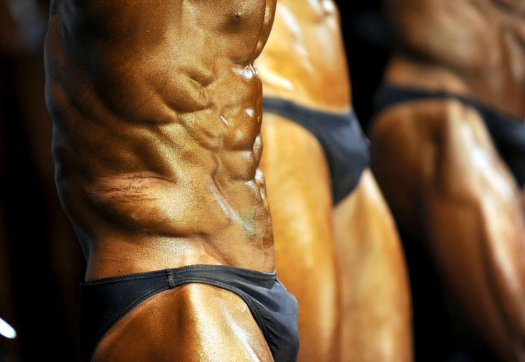 Close-up of shirtless muscular males