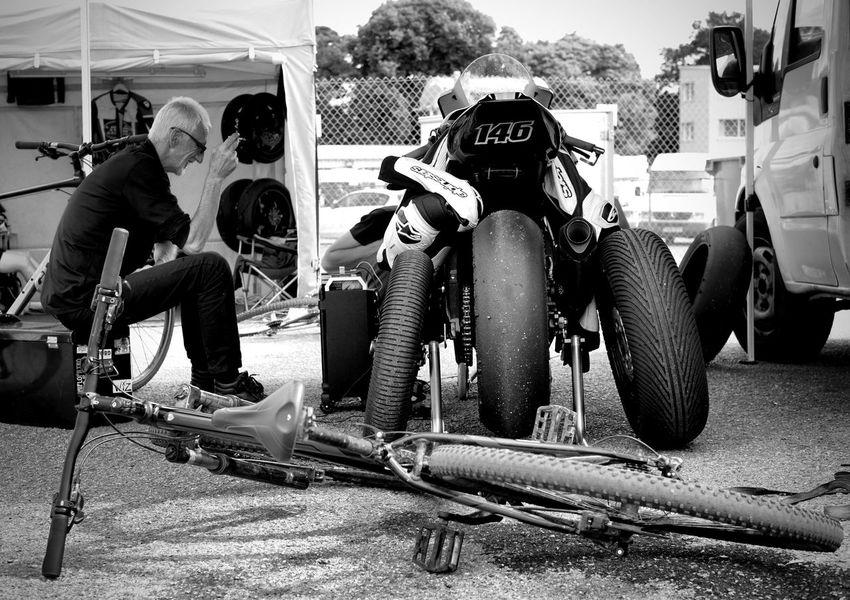 Black And White Photography monochrome photography Motor Vehicle Motorcycle Padock Repairs Bike Repairs Sitting Full Length Men Motorcycle Racing