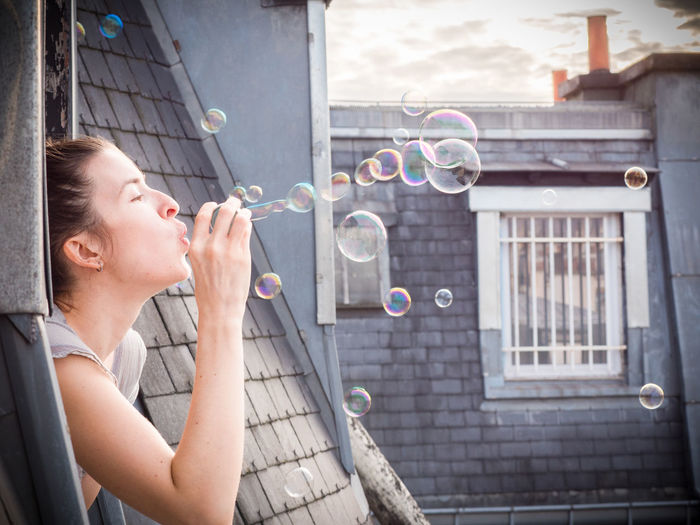 Happiness Paris Roof Woman Blowing Bubbles Bubble Bubble Wand Day Girl Outdoors Soap Bubbles Window Woman Portrait