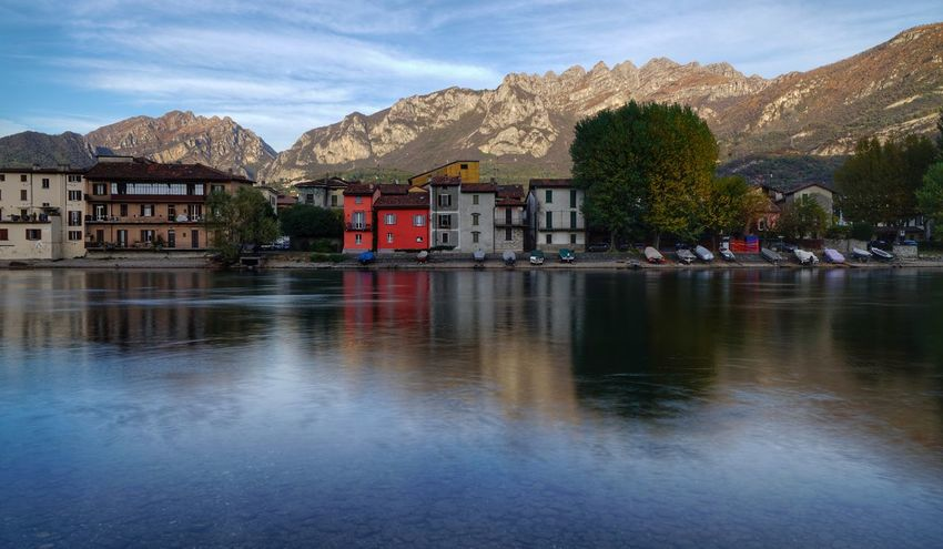 Mountain Reflection Lake Mountain Range Water Outdoors House Landscape Sky Town No People Building Exterior Travel Destinations Day Snow Nature Architecture Tree Area Autunno🍁🍁🍁 Luca Riva Sony A7m2 Sony A7RII Sal24f20z Pescarenico Pescarenico, Italy