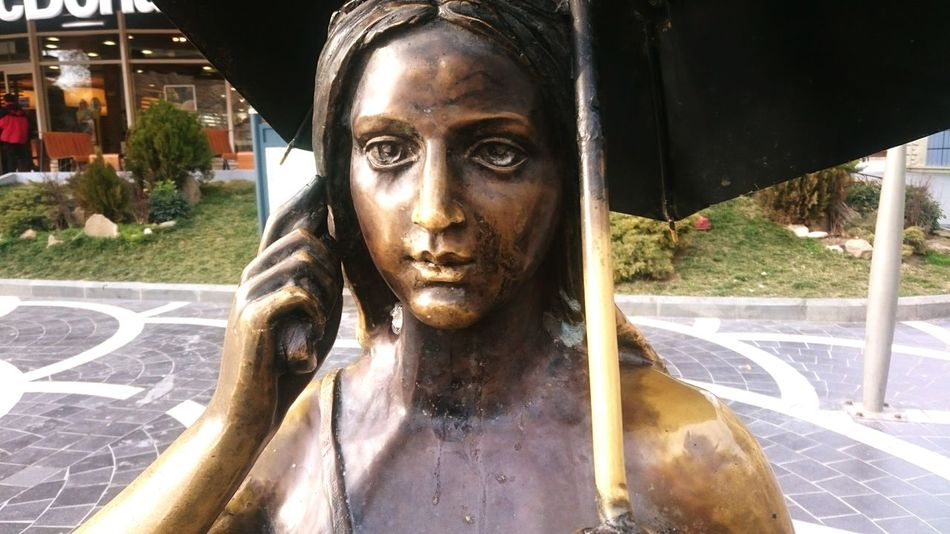Sculptures Bronze Statue Girl In Rain Close Up ArtWork Street Photography Azerbaijan Baku Baku Fauntains Square Street Photograph On The Phone... Call